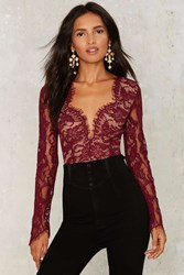 Duchess Lace Bodysuit Red
