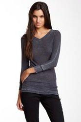Go Couture Long Sleeve V Neck Burnout Thermal Tee Gray