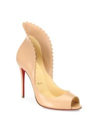 Christian Louboutin Pijonina Scalloped Leather Peep Toe Pumps Nude