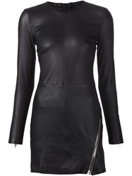 Rta Zipped Detail Fitted Leather Dress Black
