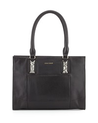 Cole Haan Savannah Smooth Snake Print Leather Tote Bag Black