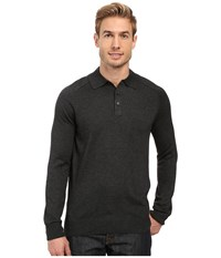 Perry Ellis Merino Three Button Long Sleeve Polo Charcoal Heather Men's Long Sleeve Button Up Gray