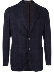 Eleventy Patched Pockets Plaid Blazer Blue