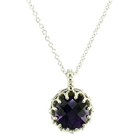London Road Chequer Cut Stone 9Ct Gold Pendant Amethyst