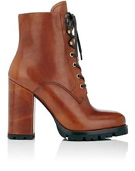 Prada Women's Leather Lace Up Ankle Boots Gold