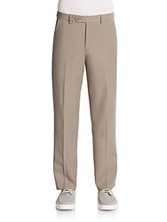 Saks Fifth Avenue Blue Flat Front Trousers Sand