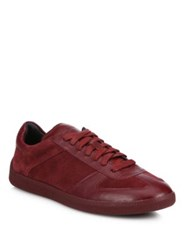 Coach Suede And Leather Lace Up Sneakers Burgundy Midnight