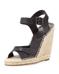 Joie Lena Leather Espadrille Wedge Black
