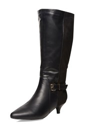 Evans Extra Wide Fit Black Fabric Heeled Boot