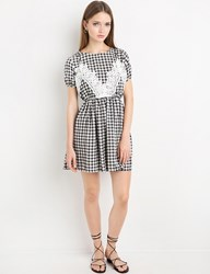 Pixie Market Gingham Lace Tank Fit And Flare Dress