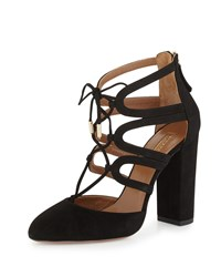 Aquazzura Holli Suede Curvy Caged Pump Black