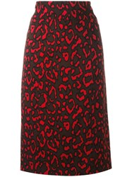 Blumarine Neon Animal Print Skirt Brown