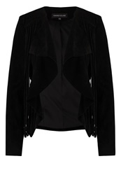 Warehouse Suede Leather Jacket Black