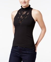 Xoxo Juniors' Lace Mock Turtleneck Blouse Black