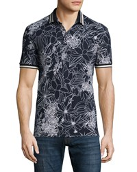 Etro Floral Print Short Sleeve Pique Polo Shirt Black White