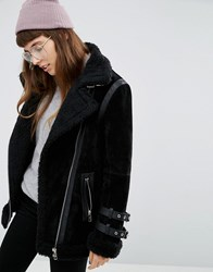 Asos Aviator Shearling Jacket Black