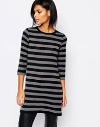 Vero Moda 3 4 Sleeve Stripe Top Blackgrey