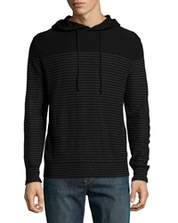 Neiman Marcus Cashmere Hooded Striped Sweater Black Chalkboard