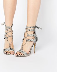 New Look Snakeskin Lace Up Heeled Sandal Multi Black