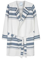 Sams0e And Sams0e Rin Striped Linen Blend Jacket White And Blue