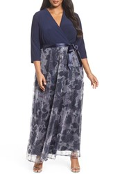 Chetta B Plus Size Women's Jersey And Sequin Maxi Dress