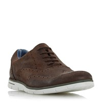 Dune Branson White Wedge Sole Brogues Brown