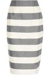 Burberry Striped Silk And Cotton Blend Faille Midi Skirt Gray