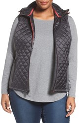 Michael Michael Kors Plus Size Women's Mixed Media Hooded Front Zip Vest