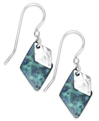 Jody Coyote Patina Bronze Blue Diamond Shape Drop Earrings