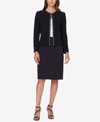 Tahari By Arthur S. Levine Asl Embellished Flyaway Skirt Suit Black