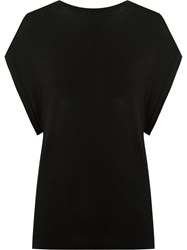 Gloria Coelho Cap Sleeves Knit Blouse Black