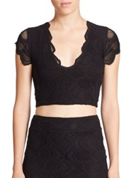 Nightcap Clothing Victorian Lace Scoopneck Crop Top Black