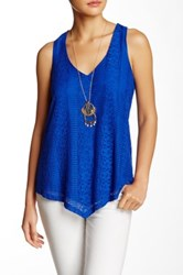 Want And Need Lace Racerback Tank Necklace Set Blue