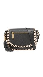 Milly Astor Contrast Whipstitch Small Saddle Black Nude