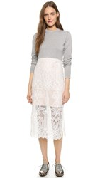 Endless Rose Lace Combo Dress H. Grey Ivory