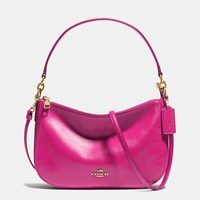 Coach Chelsea Crossbody In Smooth Calf Leather Light Gold Cerise