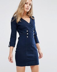 Supertrash Deyonce Denim Button Detail Dress Grey Blue