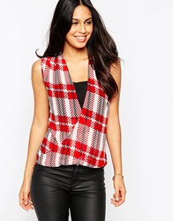Pussycat London Wrap Front Blouse In Tartan Print Red
