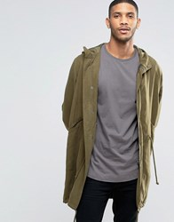 Asos Tencel Parka Jacket In Khaki Khaki Green