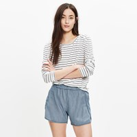 Madewell Pull On Shorts In Railroad Stripe
