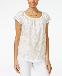 Inc International Concepts Embroidered Peasant Top Only At Macy's Bright White