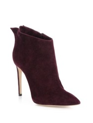 Casadei Suede Winged Point Toe Booties Red