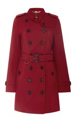 Burberry Sandringham Double Breasted Trench Coat Red