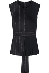 Cedric Charlier Pleated Wool Blend Top Navy
