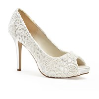 Paradox London Pink Peep Toe Lace Obsession Platform Shoes Ivory