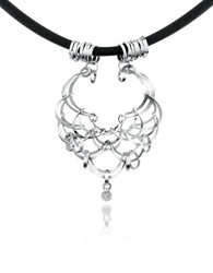 Orlando Orlandini Scintille Diamond Drop 18K White Gold Net Necklace