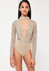 Missguided Silver Embellished Choker Neck Bodysuit Nude