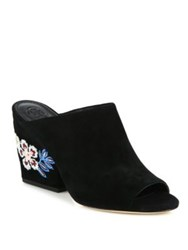 Tory Burch Embroidered Suede Wedge Mules Black Royal Tan