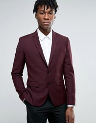 Casual Friday Slim Fit Blazer With Zip Pockets Burgundy Red