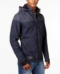 Point Zero Men's Soft Shell Fleece Lined Wind And Water Resistant Jacket Navy